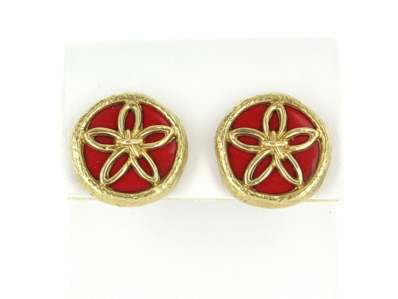 Vintage Tiffany & Co. Schlumberger Enamel Flower Clip Earrings