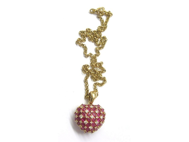 14K Yellow Gold Fine Gem Red Ruby Diamond Cluster Pendant Necklace