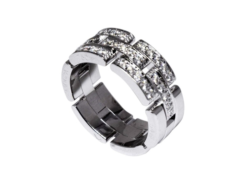 Cartier Maillon Panthere 18K White Gold & 0.53ct. Diamond Ring Size 6.75