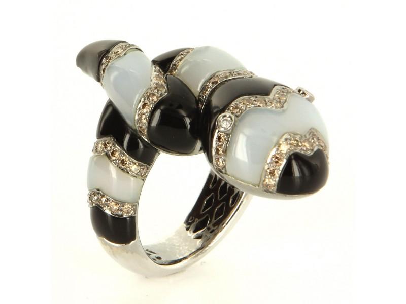 18K White Gold Diamond Onyx Chalcedony King Snake Cocktail Ring