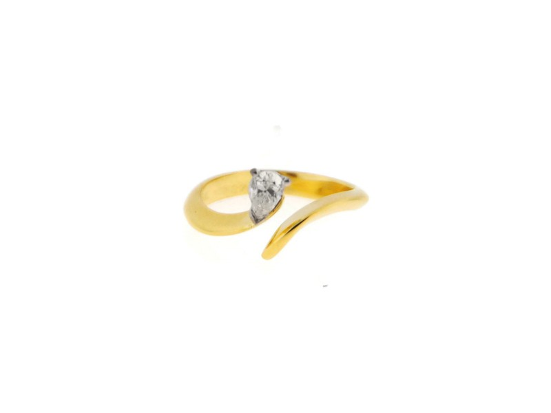 Cartier 18K Yellow Gold 0.35 Ct Pear Diamond Vintage Ring Size 5