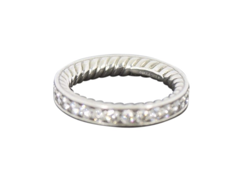 David Yurman Platinum With Diamond Eternity Wedding Band Ring Size 4.5