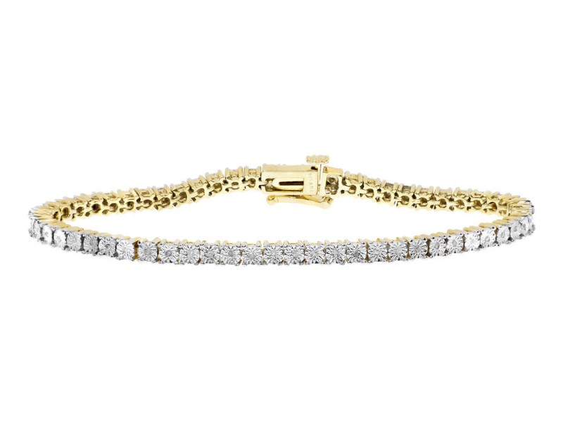 Sterling Silver Gold Plated 0.25 ct Diamond Tennis Womens Bracelet