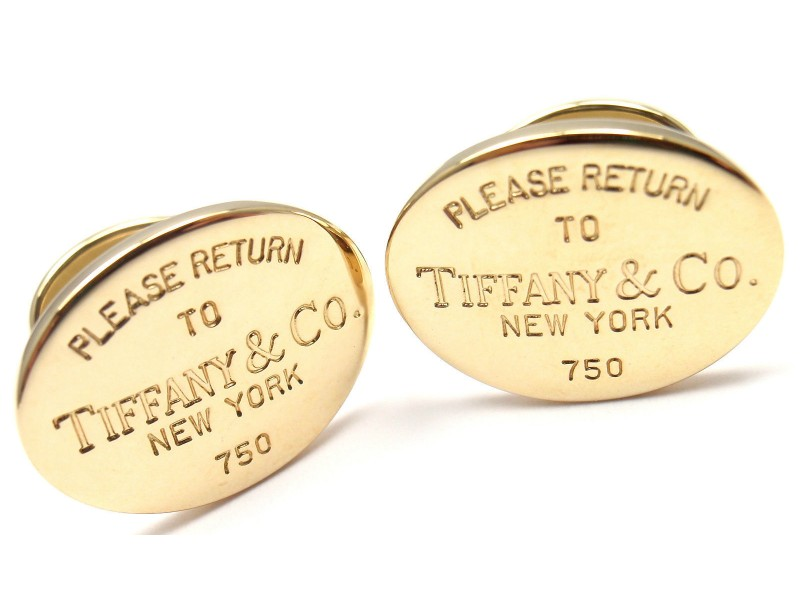 Authentic Tiffany Co 18k Yellow Gold Return To Tiffany Cufflinks Return To Tiffany Cufflinks
