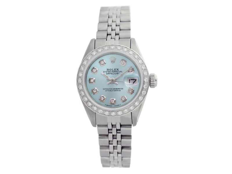 Rolex Datejust Oyster Perpetual Stainless Steel/18K White Gold Powder Blue Diamond Watch