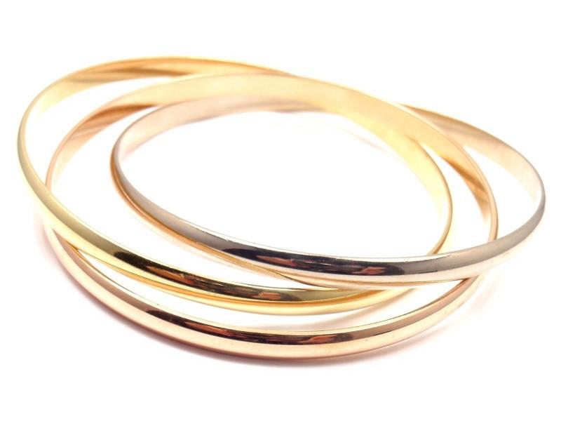 Cartier 18K Yellow, White & Pink Gold Gold Trinity Bangle Bracelet