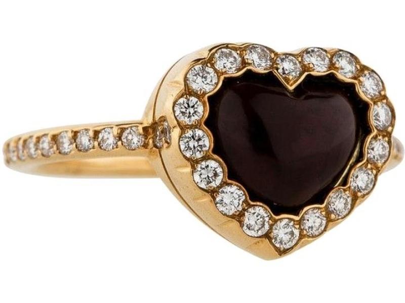 Christian Dior 18K Yellow Gold Diamond Heart Ring Size 5.75