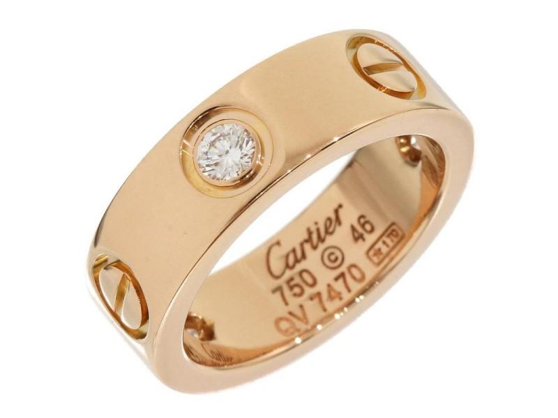 Cartier 18K Rose Gold Half Diamonds Love Ring Size 3.75