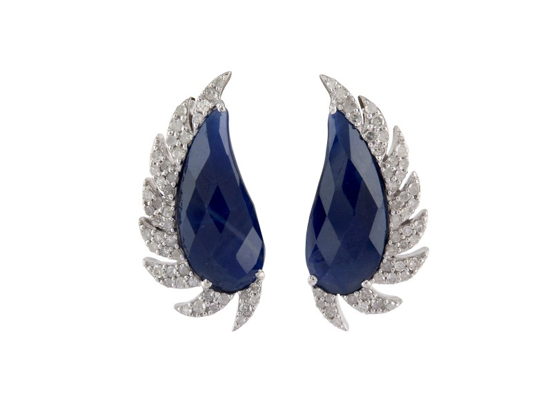 Sterling Silver Blue Sapphire & Diamonds Claw Half Moon Studs Earrings