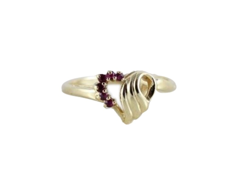 14K Yellow Gold Natural Ruby Heart Ring Size 5 5 Other