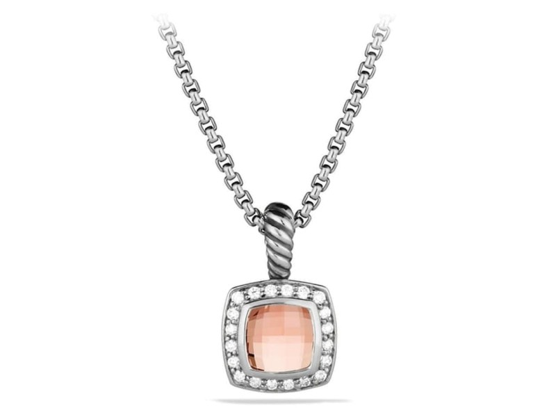 David Yurman Sterling Silver Morganite & 0.17ct Diamond Albion Necklace