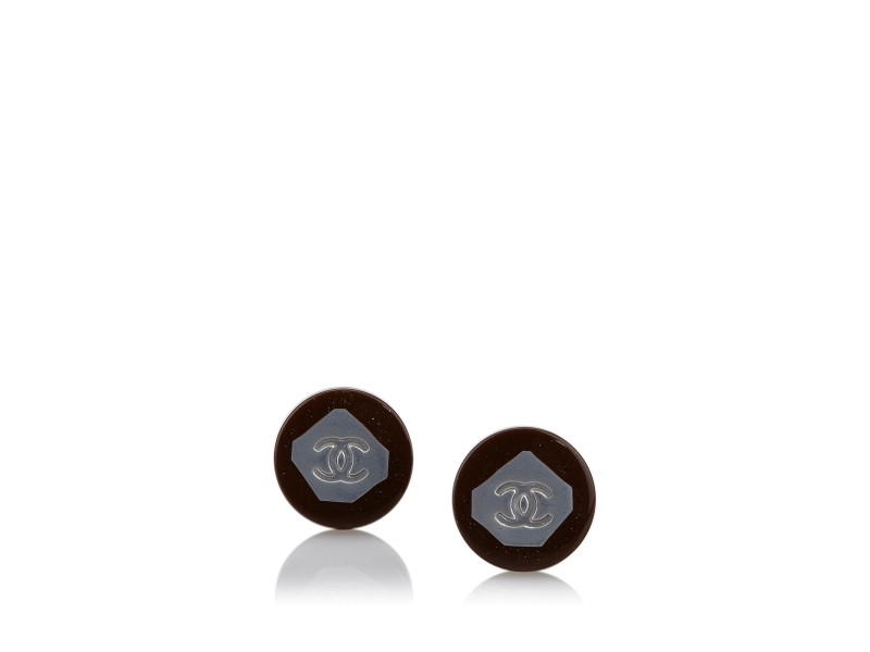 Chanel Resin & Plastic Round CC Earrings