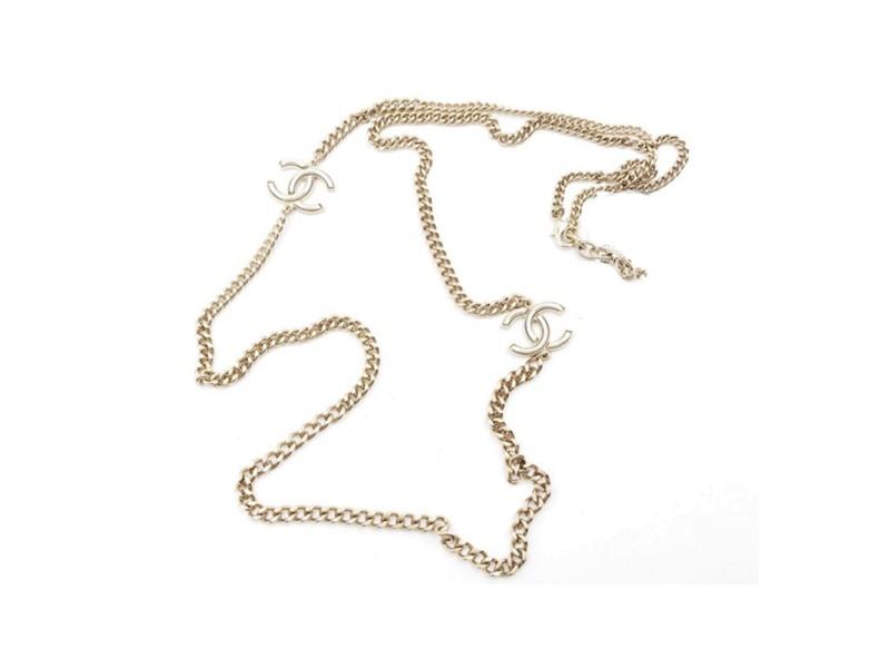 Chanel Gold Tone CC White Chain Necklace