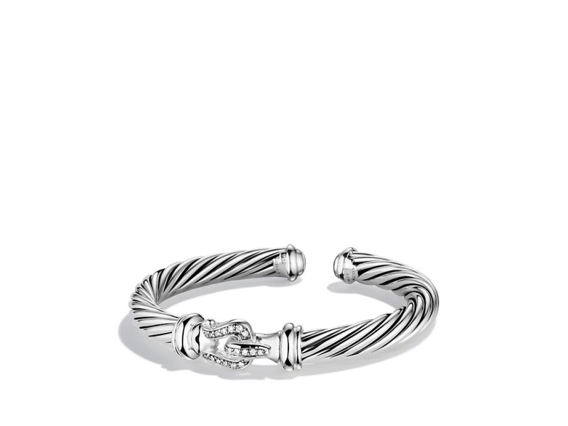 David Yurman Sterling Silver & 0.18ct Diamond Cable Classics Buckle Bracelet