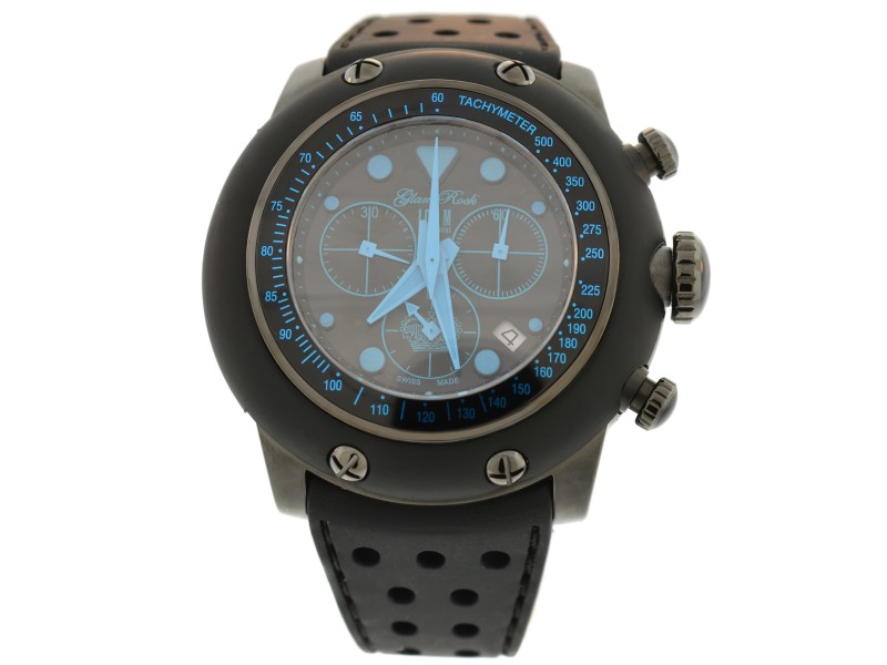 Glam Rock Race Track Chronograph 50mm Black Dial Black Silicone