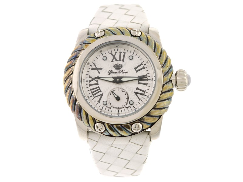 Glam Rock Women Palm Beach 40mm Silver Guilloche Dial Watch