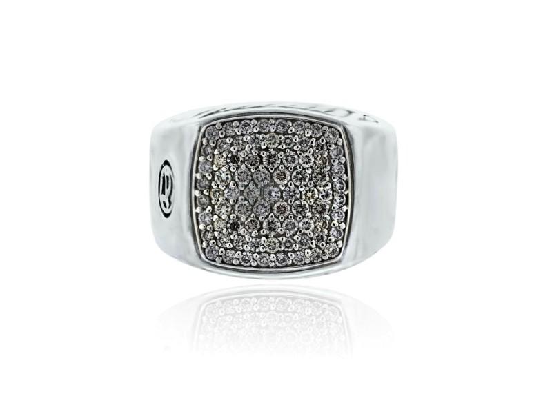 David Yurman Pave Diamond Signet Gents Ring