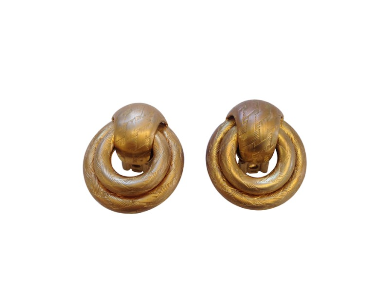 Vintage Givenchy Weave Embossed Clip Earrings