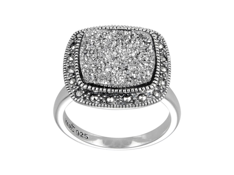 Sterling Silver Ring Set With Platinum Druzy