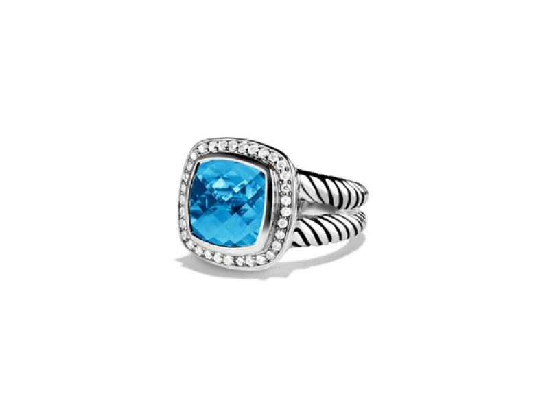 David Yurman Blue Topaz & 0.22ct Diamond Albion Ring Sz 7
