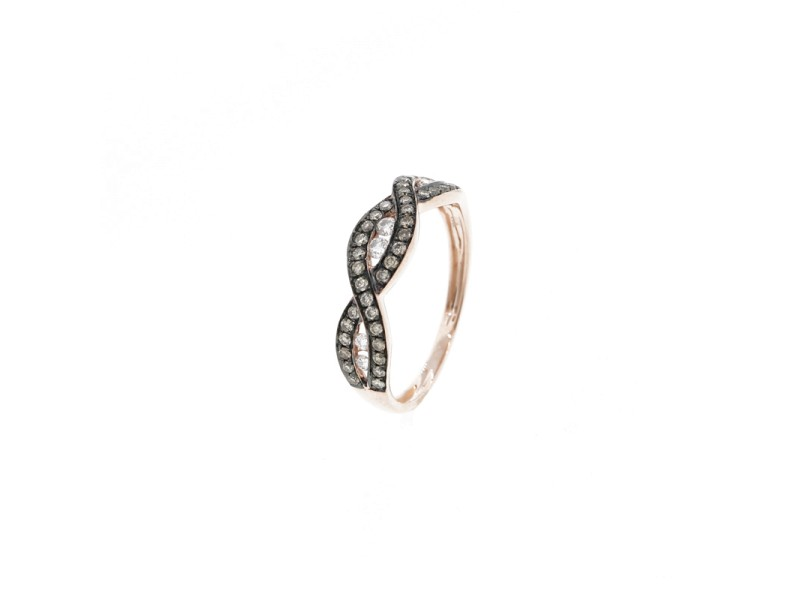 Espresso Rose Gold Braid Ring