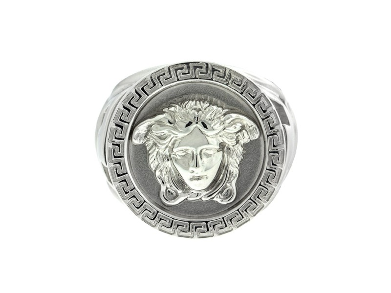 Versace 18k White Gold Large Logo Ring