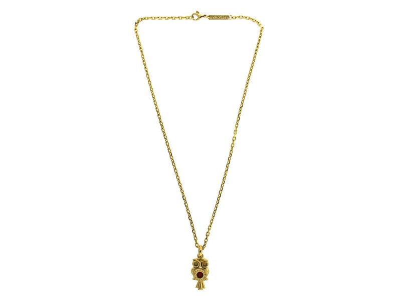 18k Yellow Gold Bvlgari Owl Necklace