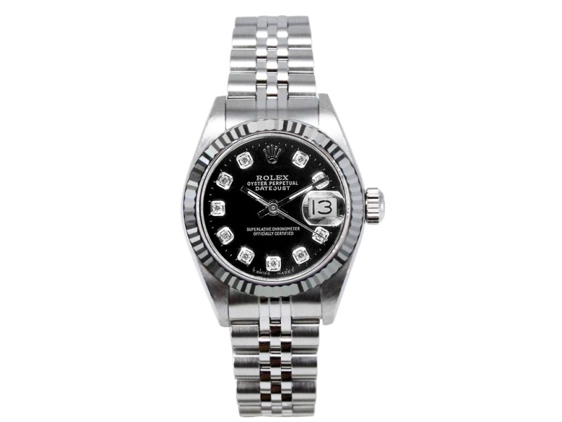 Rolex Datejust Stainless Steel Fluted Custom Black Diamond Dial Womens Watch