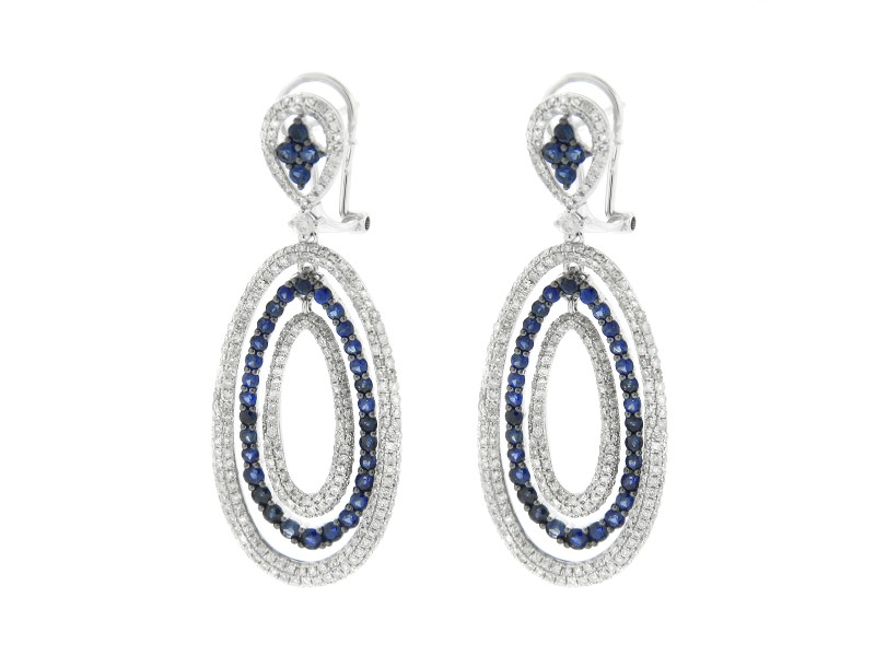 14K White Gold Three Circle Earrings