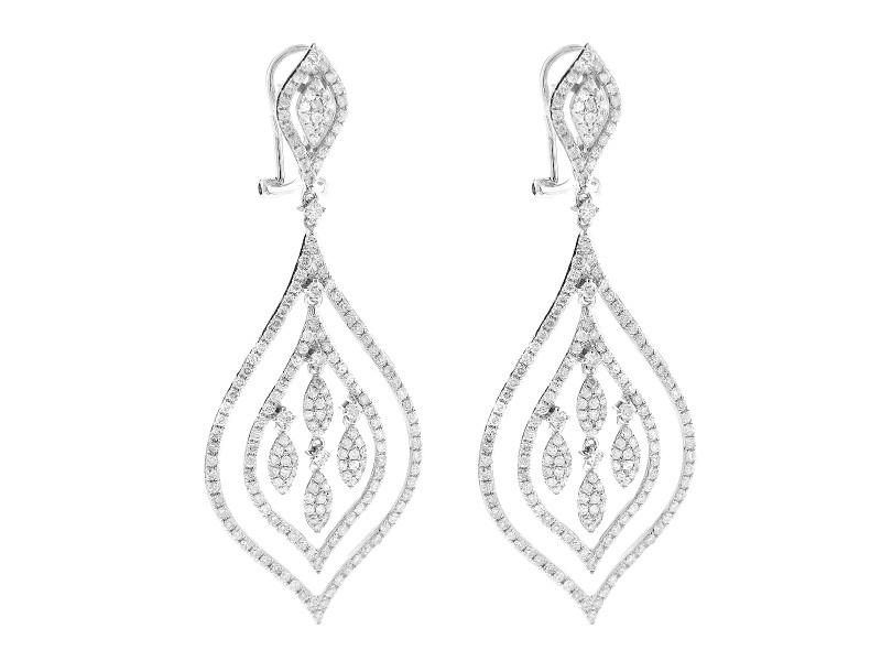 14K White Gold Diamond Unique Chandelier Earrings