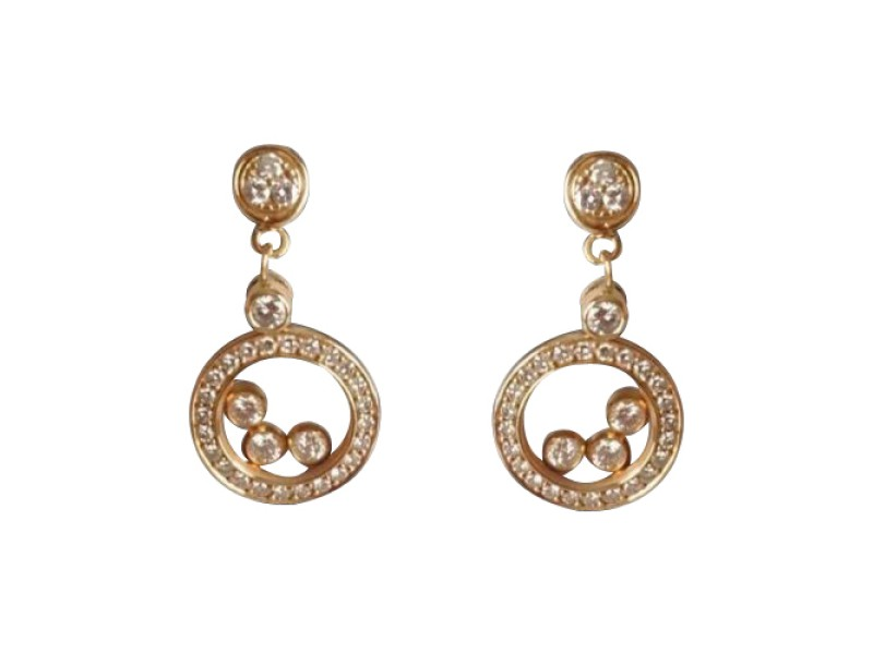 Chopard Happy Diamonds 18K Yellow Gold Drop Earrings