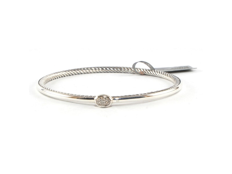 DAVID YURMAN Sterling Silver Pave Diamond Oval Confetti Cable Bangle