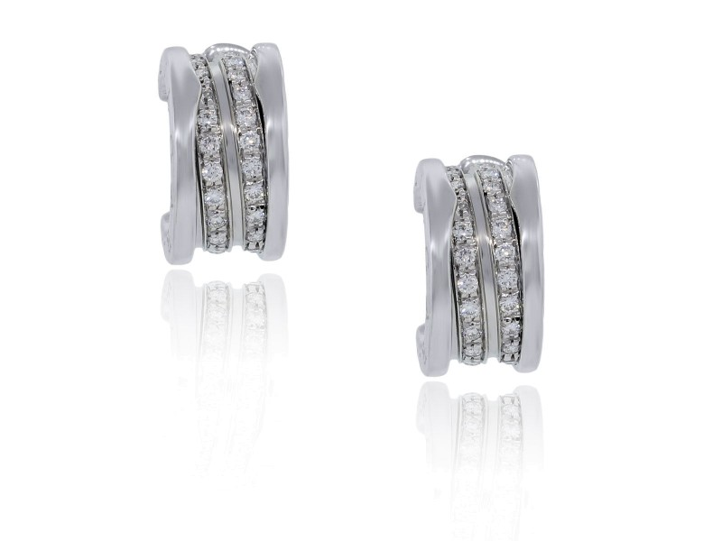 Bvlgari B.Zero1 18K White Gold Pave Diamond Earrings OR851274 L