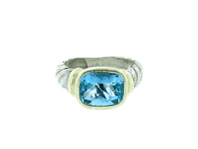 David Yurman Blue Topaz And Gold Noblesse Ring