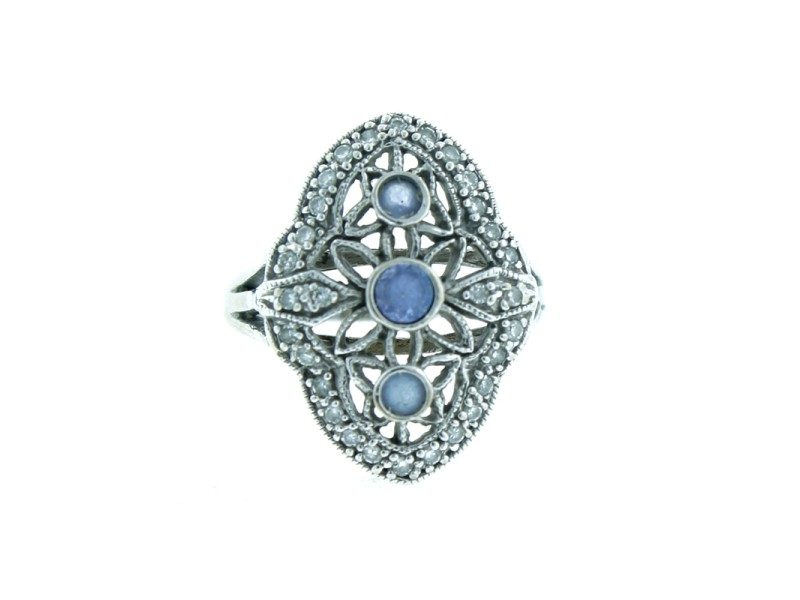 14K White Gold, Diamond & Tanzanite Ring