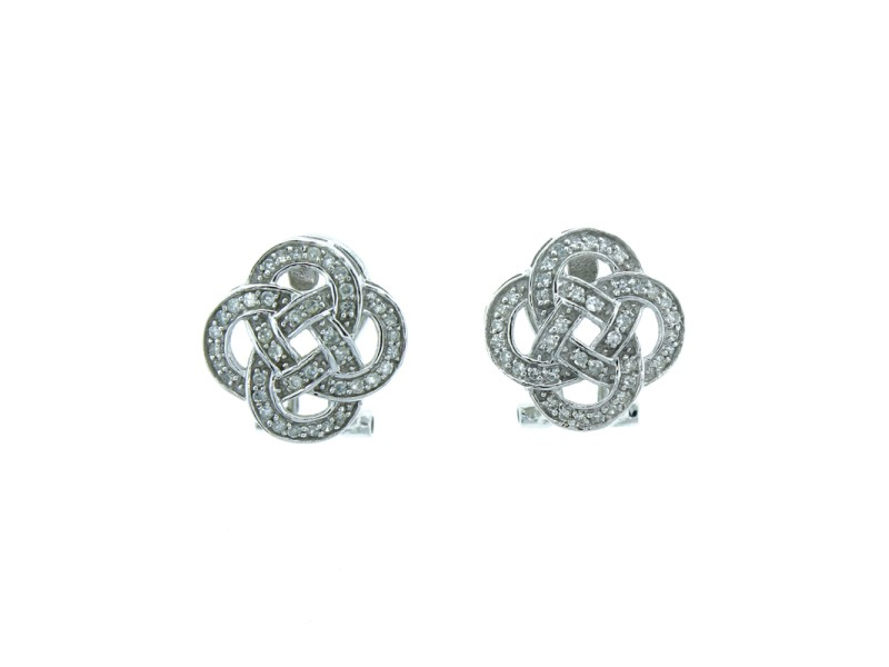 14K White Gold & Diamond Earrings