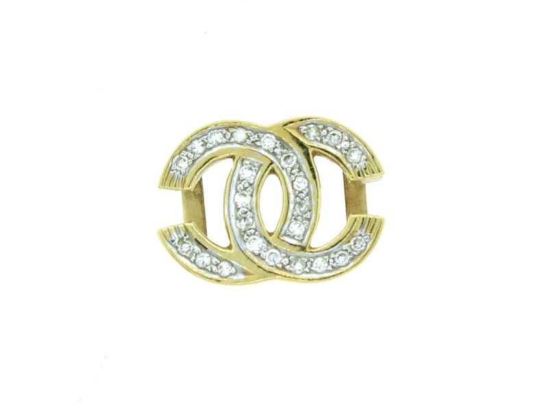 14K Yellow Gold And Diamond Chanel Style Pendant