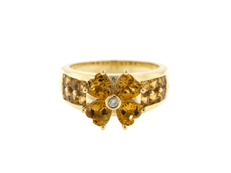 14k Yellow Gold Diamond and Citrine Ring