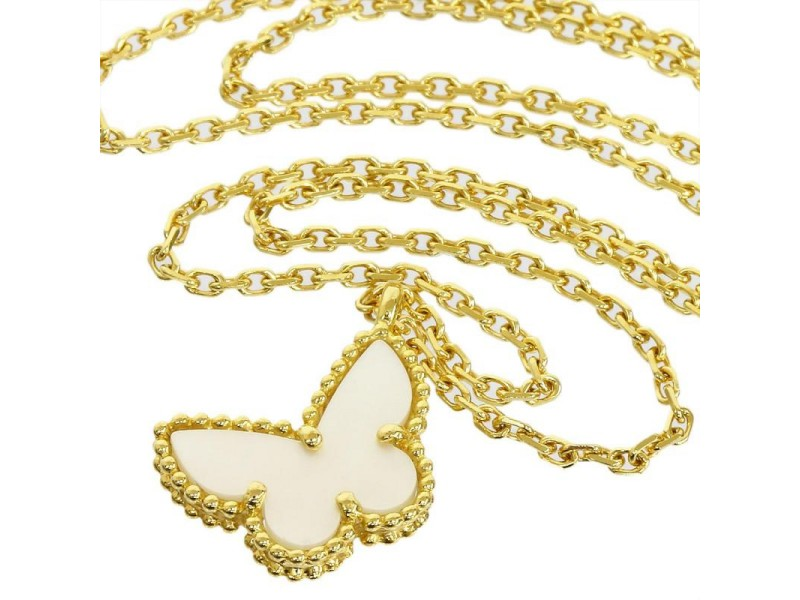 Van Cleef & Arpels 18K Yellow Gold White Shell Papillon Pendant Necklace