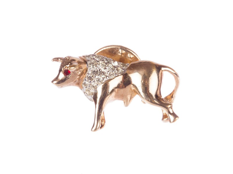 Panetta Rhinestone Bull Pin