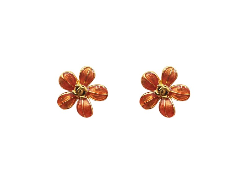 Chanel Gold Plated CC Red and Light Green Flower Earrings