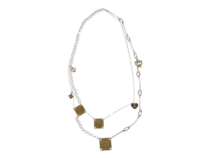 MCM Brass Tag Flapper Necklace