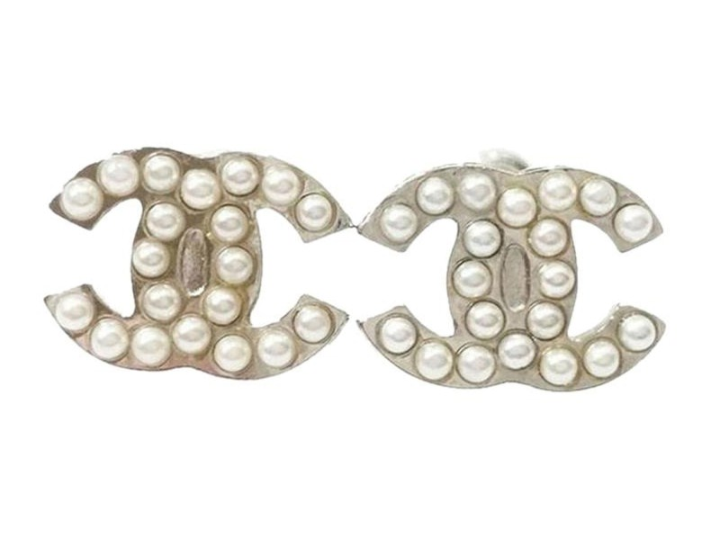 Chanel CC Classic Silver Tone Metal & Faux Pearl Piercing Earrings