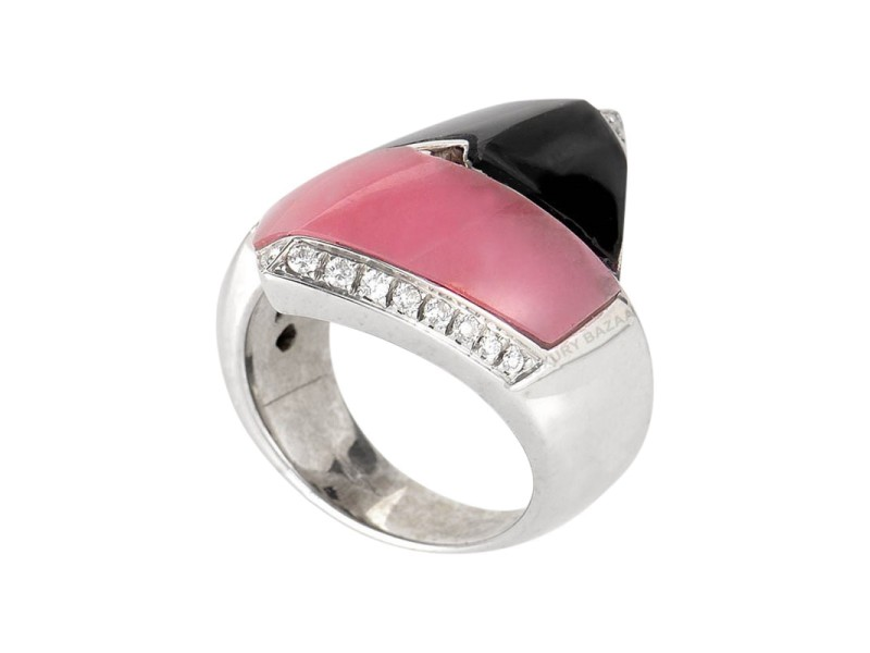 18K Pink Agate and Onyx Ring