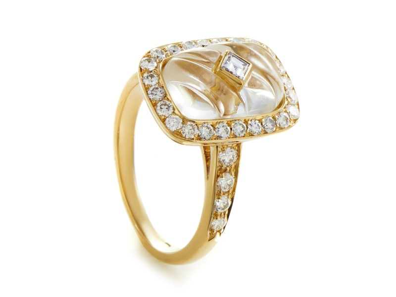 Boucheron 18K Yellow Gold Diamond & Crystal Ring