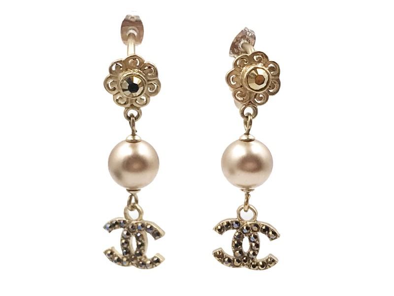 Chanel Gold Tone Flower CC Crystal Pearl Piercing Earrings