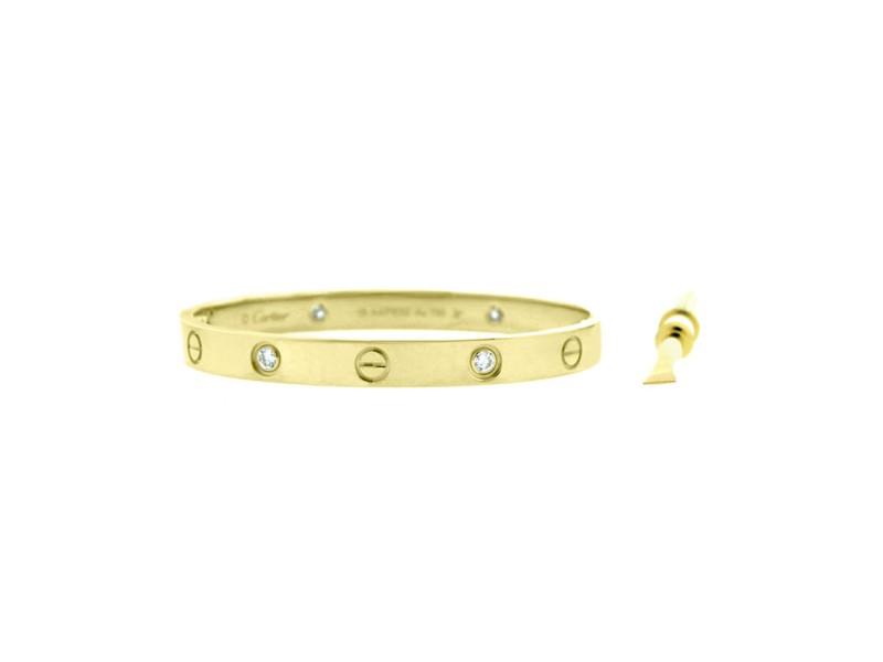 Cartier Love B6035917 Bracelet Y/G Half Dia Size 17