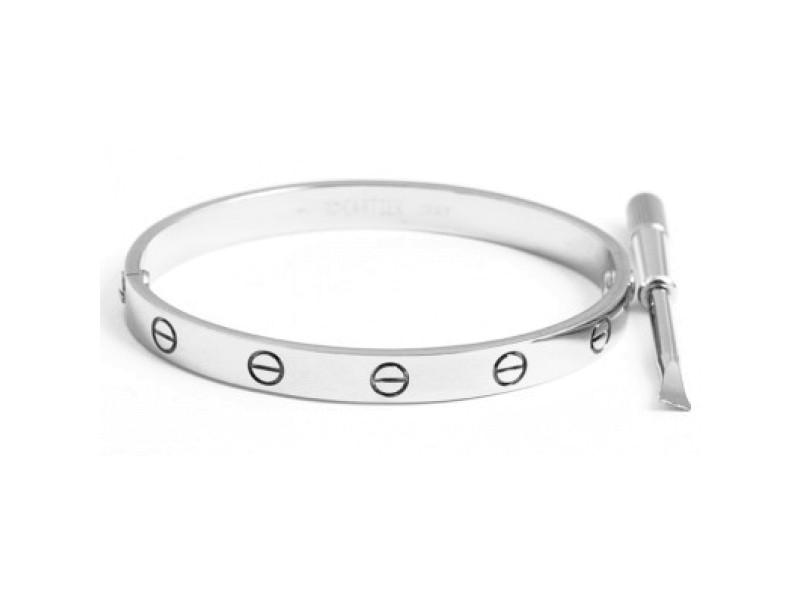 Cartier Love Bracelet White Gold Size 16