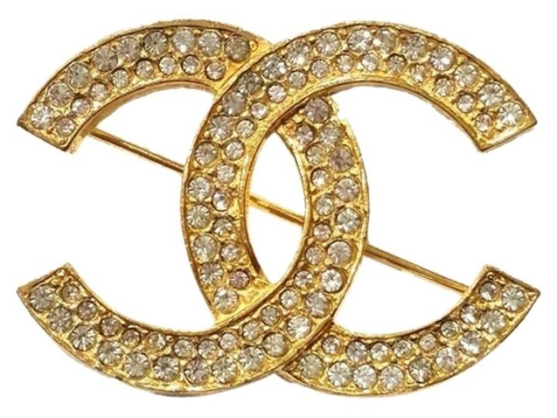 Chanel Gold Plated & Rhinestone CC Brooch