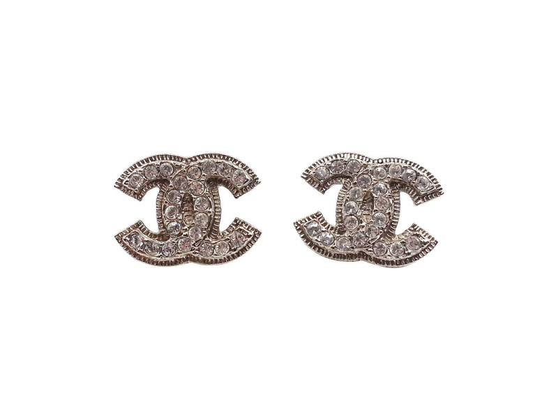 Chanel Silver Tone Metal CC Blink Rhinestone Piercing Earrings